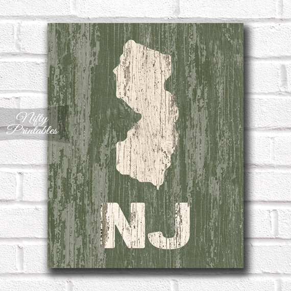 New Jersey Print - Rustic Wood