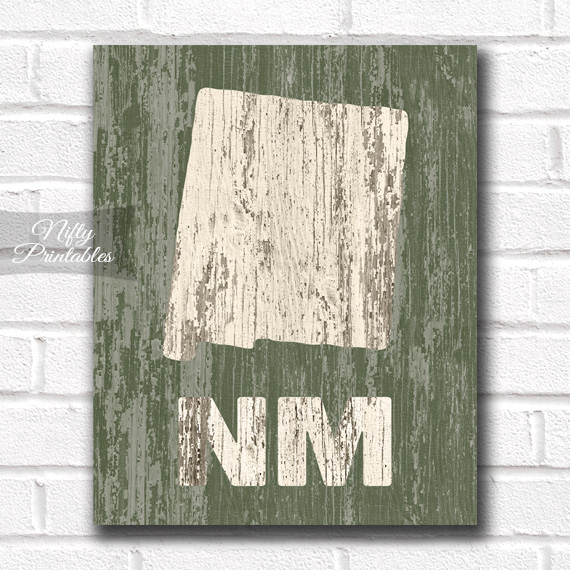 New Mexico Print - Rustic Wood