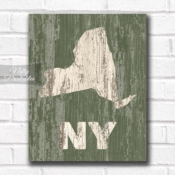 New York Print - Rustic Wood