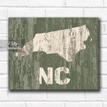 North Carolina Print - Rustic Wood