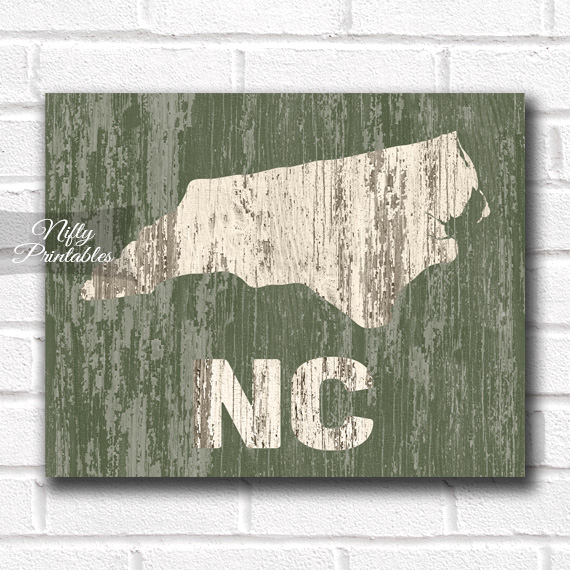 North Carolina Print - Rustic Wood