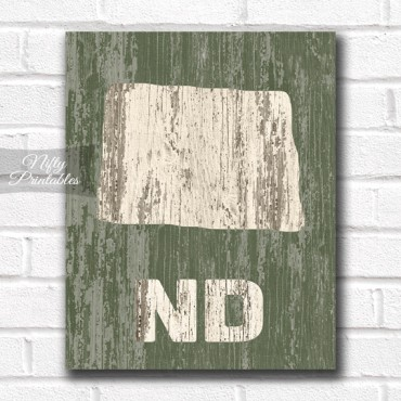North Dakota Print - Rustic Wood