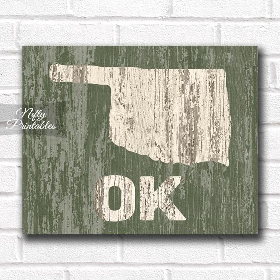 Oklahoma Print - Rustic Wood