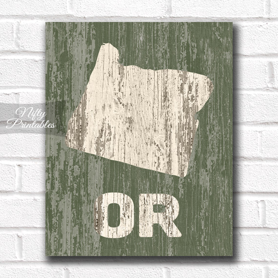 Oregon Print - Rustic Wood