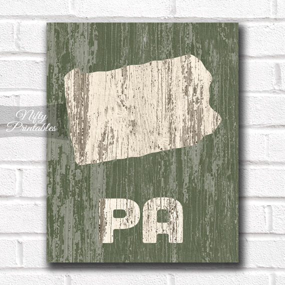Pennsylvania Print - Rustic Wood