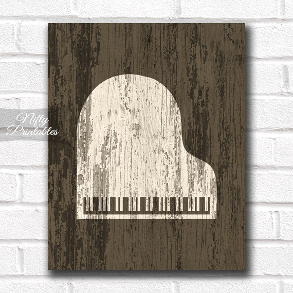 Piano Print - Rustic Wood