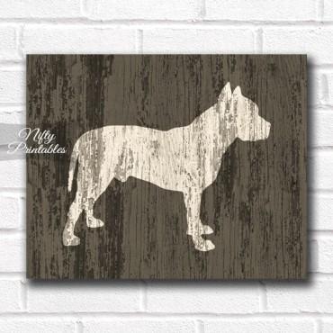 Pit Bull Print - Rustic Wood Dog