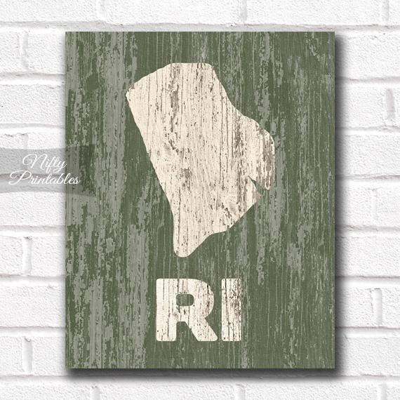 Rhode Island Print - Rustic Wood