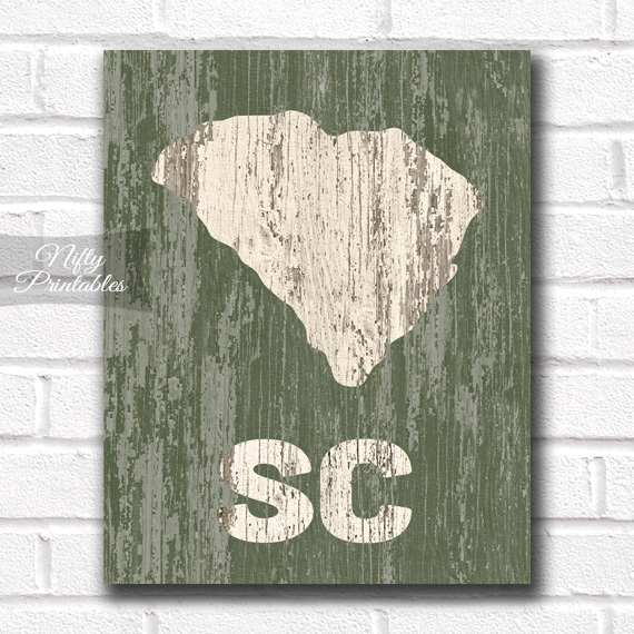 South Carolina Print - Rustic Wood