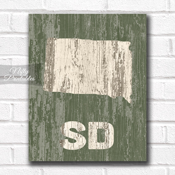 South Dakota Print - Rustic Wood