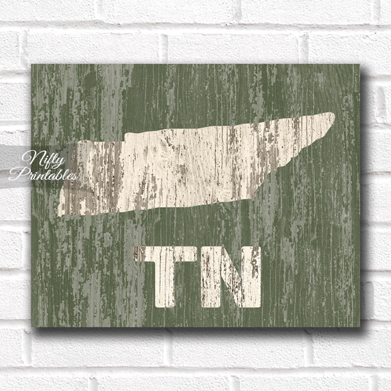 Tennessee Print - Rustic Wood