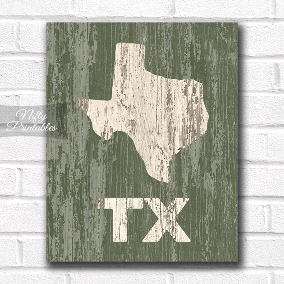 Texas Print - Rustic Wood