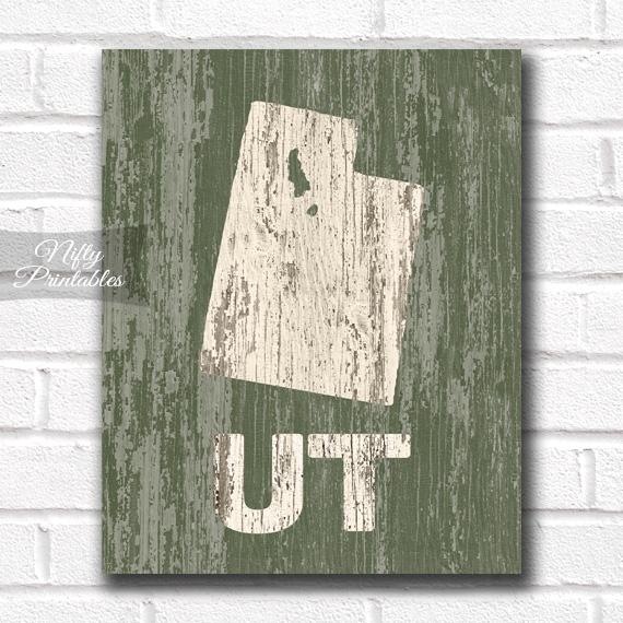 Utah Print - Rustic Wood