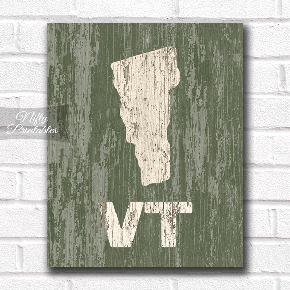 Vermont Print - Rustic Wood