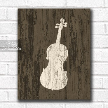 Violin Print - Rustic Wood
