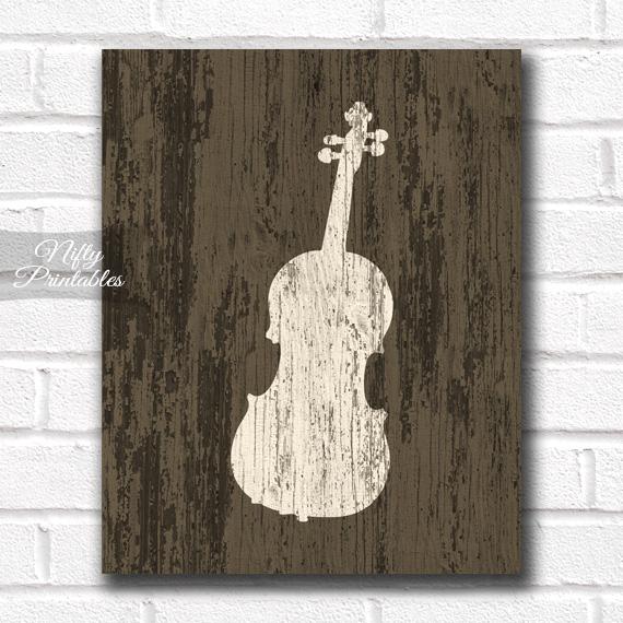 Violin Print - Rustic Wood