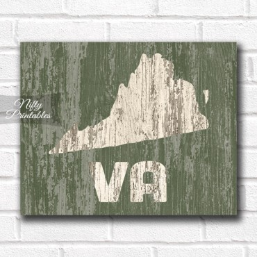 Virginia Print - Rustic Wood