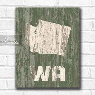 Washington Print - Rustic Wood