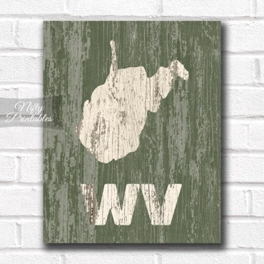 West Virginia Print - Rustic Wood