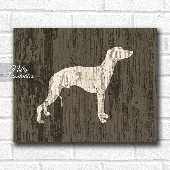 Whippet Print - Rustic Wood Dog