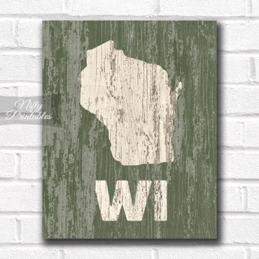 Wisconsin Print - Rustic Wood