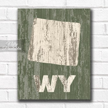 Wyoming Print - Rustic Wood
