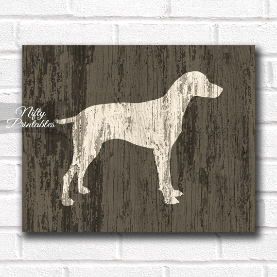 Weimaraner Print - Rustic Wood Dog