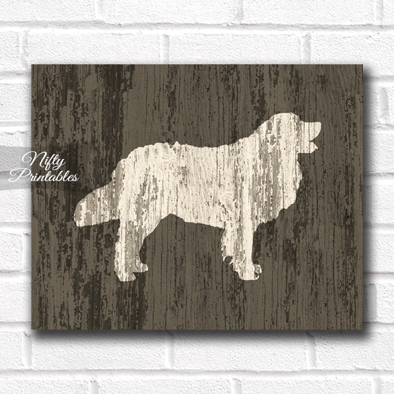 Golden Retriever Print - Rustic Wood Dog