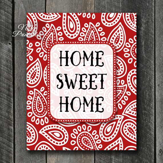 Home Sweet Home Art - Red Paisley