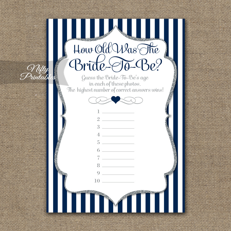 How Old Is The Bride Shower Game - Navy Blue Silver