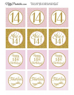 14th Birthday Cupcake Toppers - Pink Gold