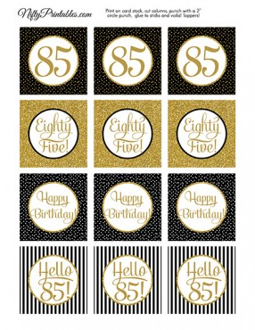 85th Birthday Cupcake Toppers - Black Gold