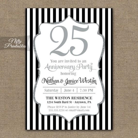 Black Silver Glitter Anniversary Invitations