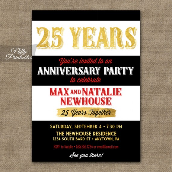25th Anniversary Invitations (Or Any Year!) - Black Gold