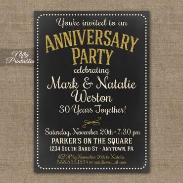 Chalkboard Anniversary Invitations