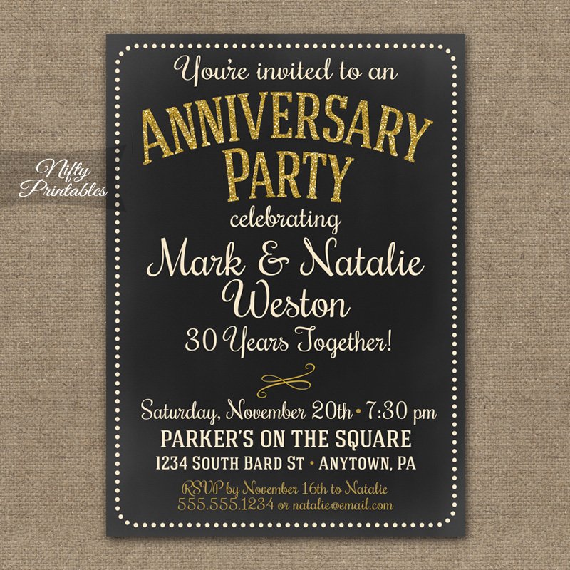 Chalkboard Anniversary Invitations - Nifty Printables