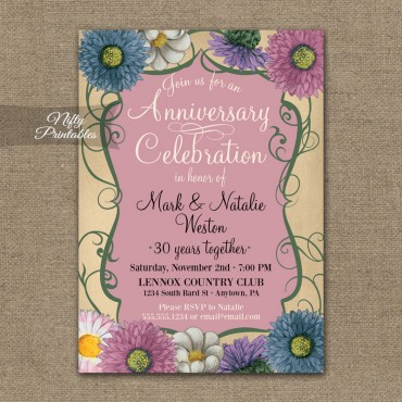 Floral Swirl Anniversary Invitations