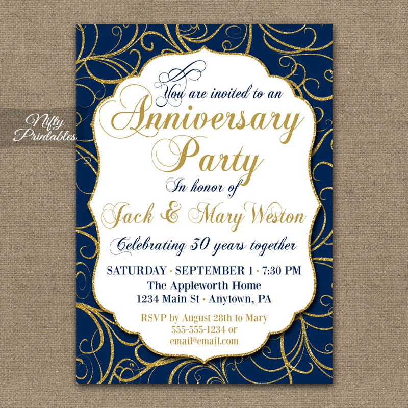 Navy Gold Swirl Anniversary Invitations