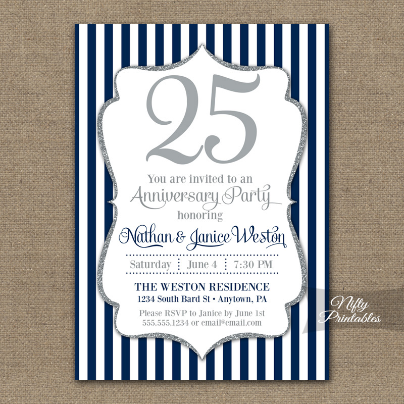 Navy Silver Glitter Anniversary Invitations