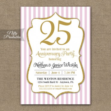 Pink Glitter Anniversary Invitations