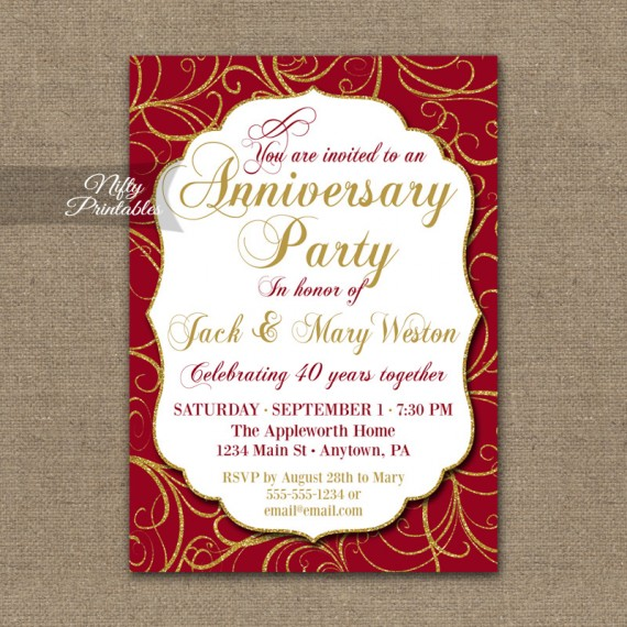 Red Anniversary Invitations - Ruby Gold