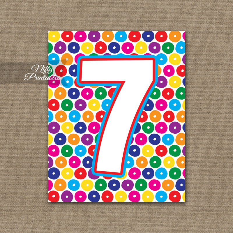 7th Birthday Sign - Colorful Fun