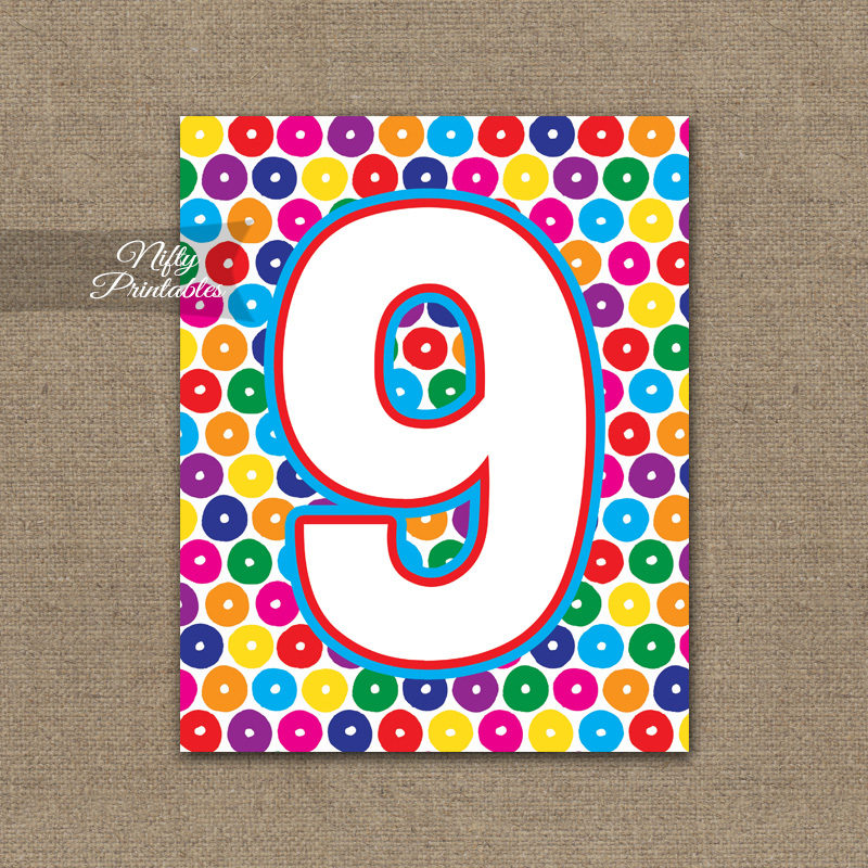 9th Birthday Sign - Colorful Fun