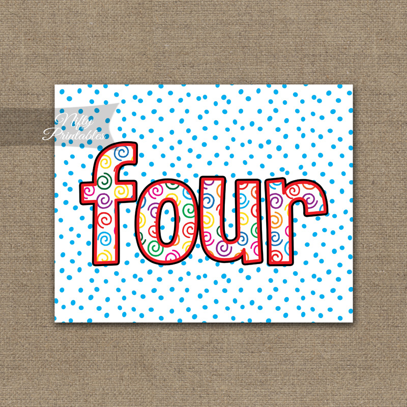 Fourth Birthday Sign - Colorful Fun