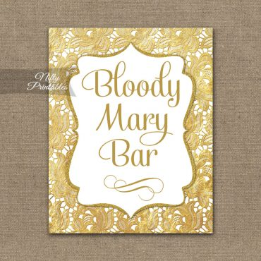 Bloody Mary Bar Sign - Gold Lace