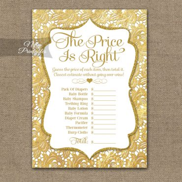 Price Is Right Baby Shower Game - Gold Lace