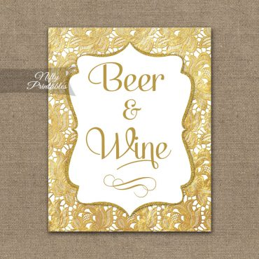 Beer And Wine Sign - Gold Lace