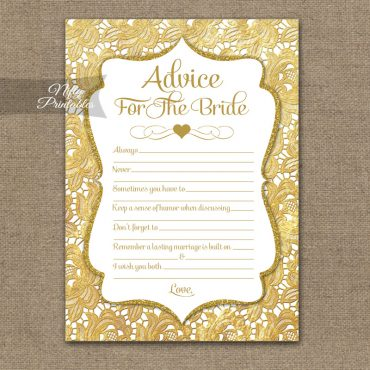 Bridal Shower Advice Cards - Gold Lace