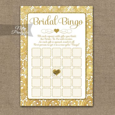Bridal Shower Bingo Game - Gold Lace