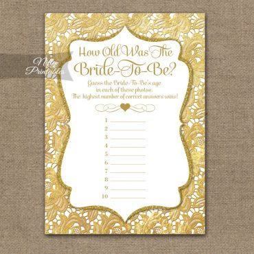 How Old Is The Bride Shower Game - Gold Lace